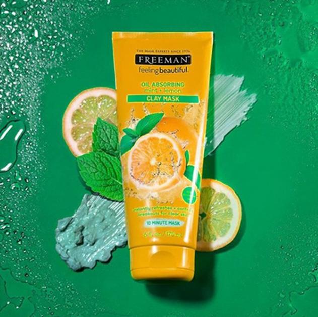Freeman Oil Absorbing Mint & Lemon Clay Mask masker wajah kulit berminyak