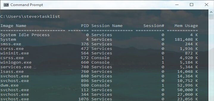 Task Manager Command Prompt