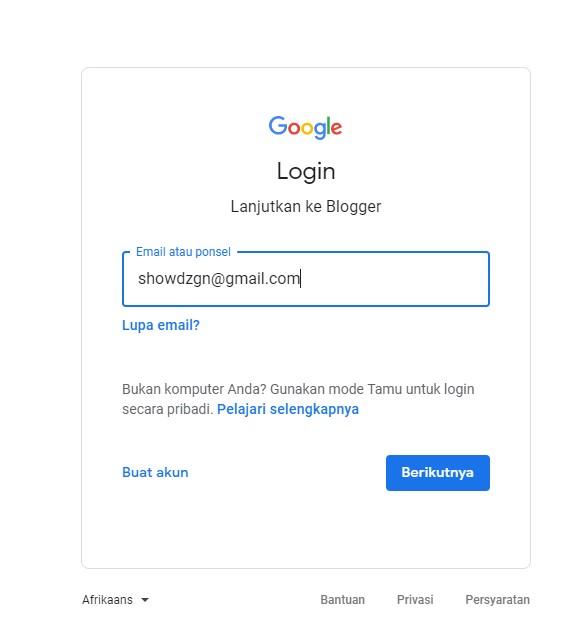 Login dengan akun Gmail